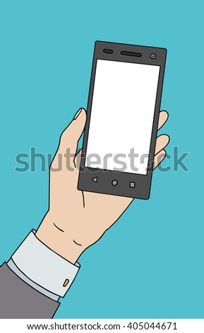 White man hand with smartphone. Nice vector illustration.
