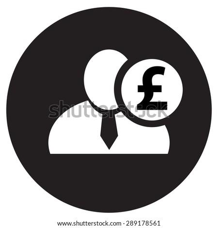White Man Silhouette Icon English Pound Stock Vector 289178561