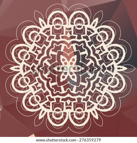 White mandala on triangles background - stock vector