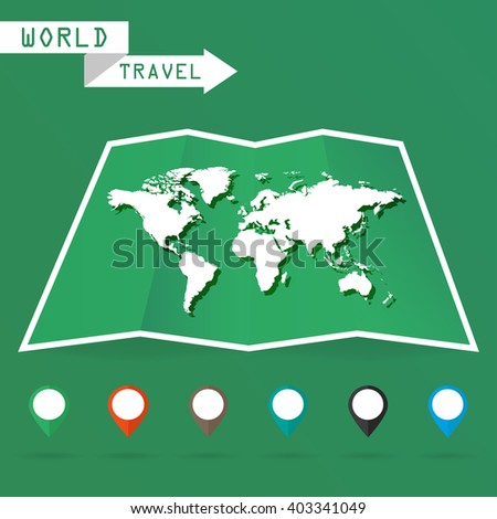 White map of the world with shadow on a green background - stock vector