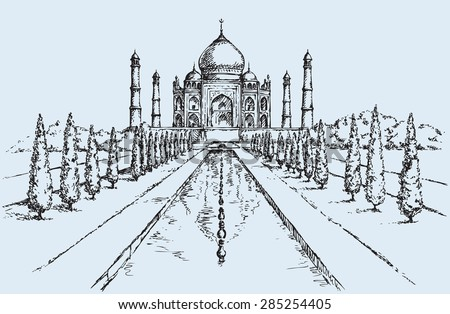 White marble muslim tomb in Agra city, built by Mughal emperor Shah Jahan for his wife Mumtaz. Freehand ink drawn background sketch in art doodle retro style. Panoramic view with space for text on sky - stock vector