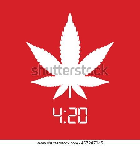 White marijuana leaf icon. Red background - stock vector