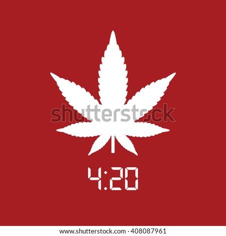 White marijuana leaf vector icon. Red background - stock vector