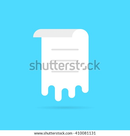 white melt sheet with list. concept of memo, work flow, vote, ui, rolled menu, doc template, notice, schedule, post. flat style trend modern logo graphic design vector illustration on blue background - stock vector