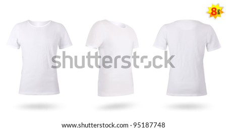 White men T-shirt template. Photo-realistic mesh design. - stock vector
