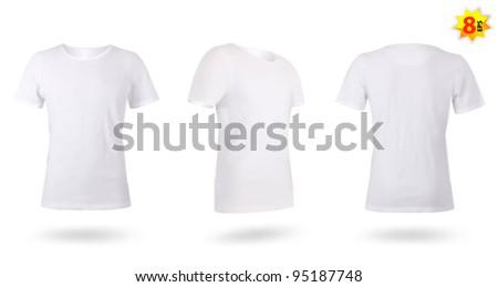 White men T-shirt template. Photo-realistic mesh design. - stock vector