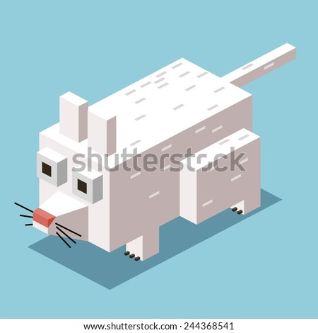 white mice. 3d pixelate isometric vector - stock vector