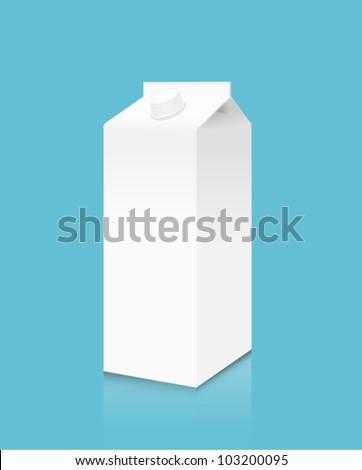 white milk box - stock vector