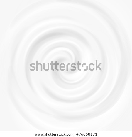 White milk, yogurt, cosmetics product swirl cream vector illustration. Mousse whirlpool and vortex background