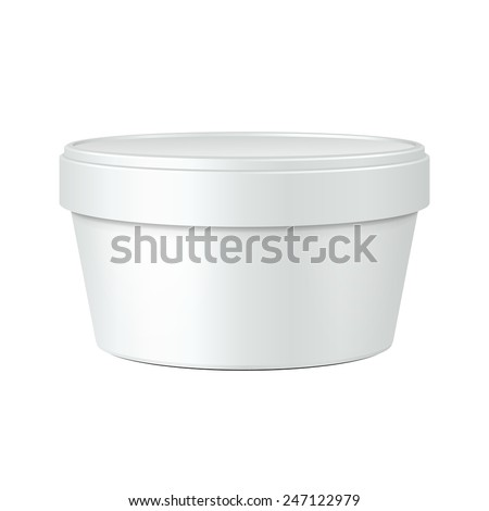 White Mock Up Food Plastic Can Cap Jar Tub Bucket Container For Dessert, Yogurt, Ice Cream, Sour Cream Or Snack. Ready For Your Design. Product Packing Vector EPS10 - stock vector