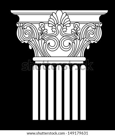 white model of simple silhouette of Greek column on the black background. vector illustration - stock vector