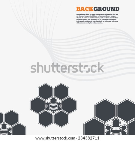 White modern background. Honeycomb with bee sign icon. Honey cells symbol. Sweet natural food. Outline signs with curved lines. Vector - stock vector