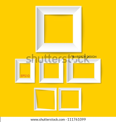 White modern frames on the wall, vector illustration. - stock vector