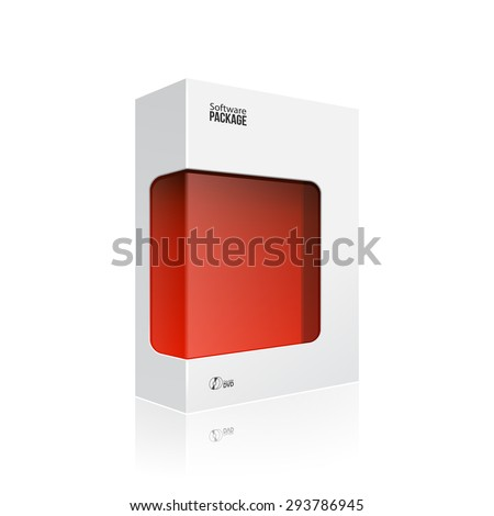 White Modern Software Product Package Box With Red Window For DVD Or CD Disk EPS10 - stock vector