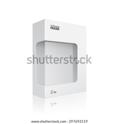 White Modern Software Product Package Box With Window For DVD Or CD Disk EPS10 - stock vector