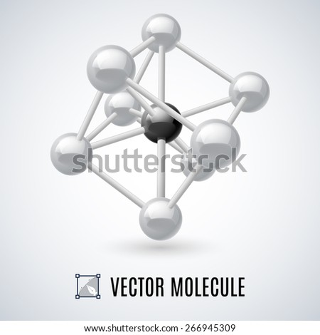 White molecular structure isolated on a gray background - stock vector