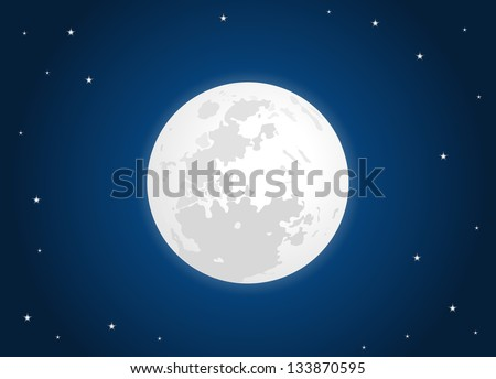 white moon with star sky - stock vector