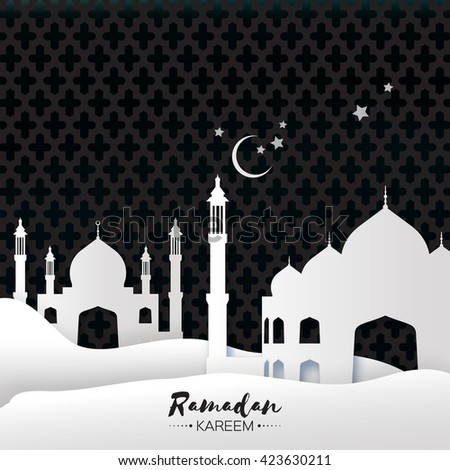 White Mosque Ramadan Kareem Greeting card with arabic arabesque pattern. Origami Desert landscape. Crescent Moon. Symbol of Islam. Applique Design Vector illustration. - stock vector