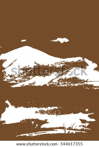 White mountain range with texture on brown. Landscape sketch. Hiking, travel and camping concept. For tourism organizations, outdoor events and mountains leisure. Engraving style. Vector illustration