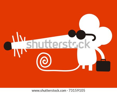 White mouse with sunglasses and briefcase - stock vector