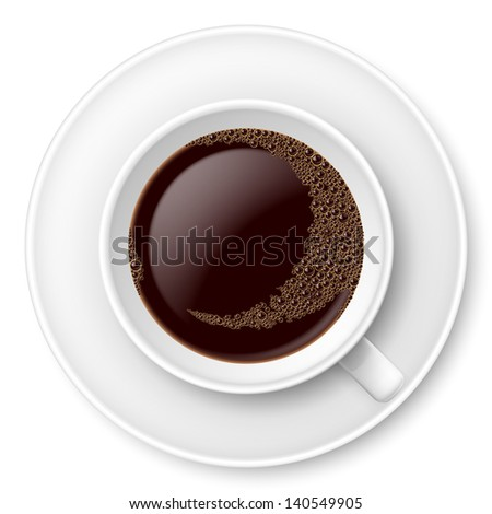 White mug of coffee with foam and saucer. Illustration on white - stock vector