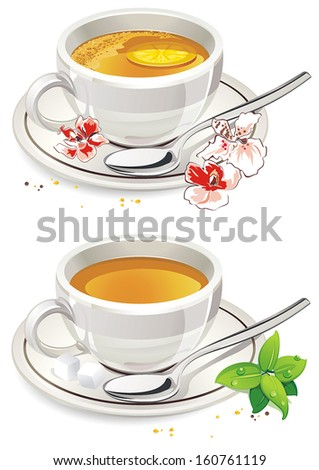 White mug of Tea with foam and saucer isolated on White Background