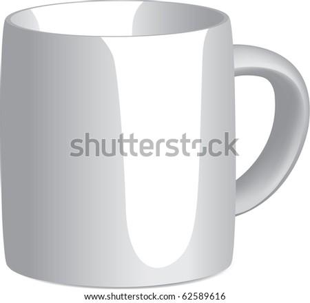 White Mug on white background. Gradient Mesh used. - stock vector