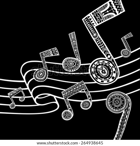 White music staff and notes on black background. Vector illustration.