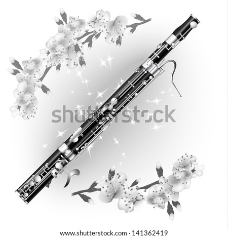 White musical background series. Classical bassoon, isolated on white background with flowers - stock vector