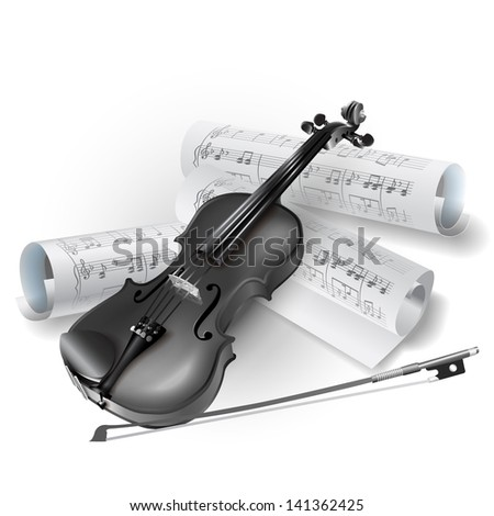 White musical background series. Classical violin, isolated on white background with musical notes - stock vector