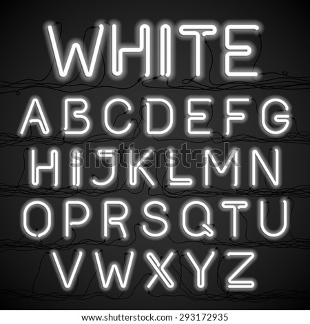 White neon light alphabet with cable. Vector. - stock vector