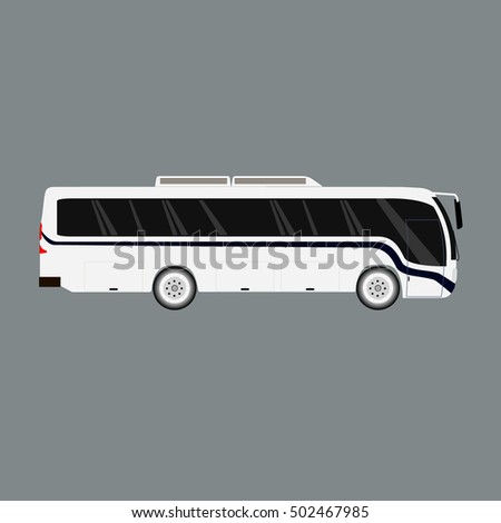 White new modern comfortable city bus on the road. The White tourist bus. City white bus vector travel passenger public and city bus vector traffic tour front commercial trip.
