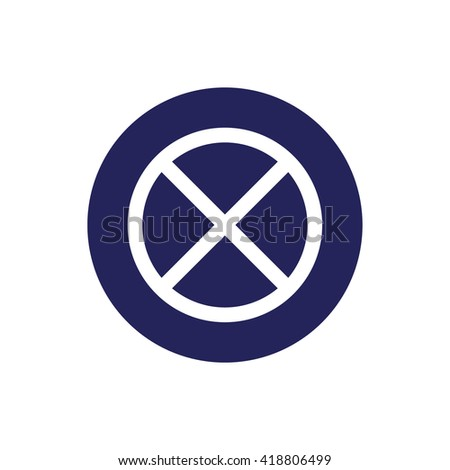 White no parking icon vector sign. Blue circle. Blue button - stock vector