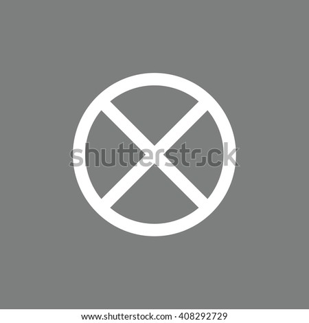 White no parking vector sign. Gray background - stock vector