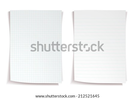 White notebook paper on white background - stock vector