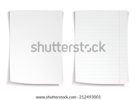 White notebook paper with lines on white background - stock vector