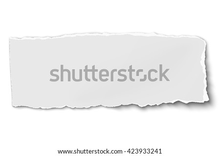 White oblong paper tear isolated on white background with soft shadow - stock vector