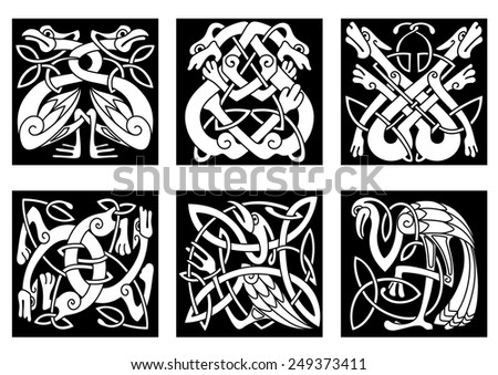 White on black intricate celtic birds and animals as stork, heron, dog, wolf, crane and goose - stock vector