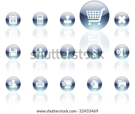 white on gray aqua icons | set 13 - stock vector