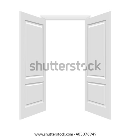 White Open Doors With Gradient Mesh, Vector Illustration - stock vector