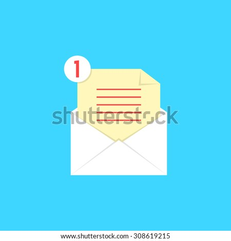 white open envelope with check list and notice. concept of newsletter, notify, support, counter incoming, confirm. isolated on blue background. flat style trend modern logo design vector illustration - stock vector