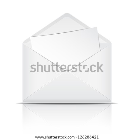 White open envelope with paper. Vector illustration - stock vector