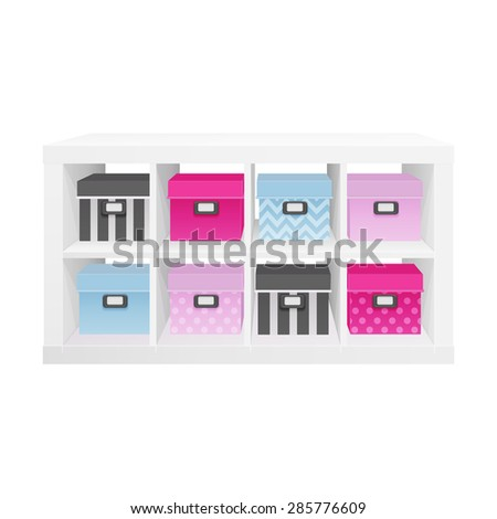 white open shelves with  colorful boxes - stock vector