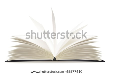 White opened book with blank pages. Vector. - stock vector