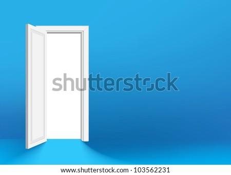 White opened door in the green wall - stock vector