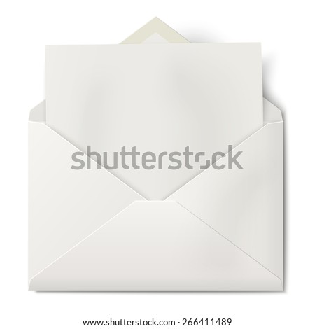 White opened envelope with sheet of paper inside isolated on white background - stock vector