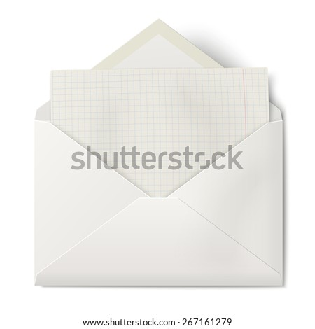 White opened envelope with sheet of squared paper inside - stock vector