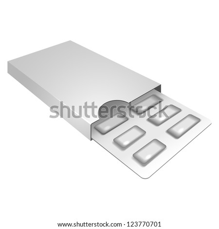 White Opened package of gum. Chewing gum isolated. - stock vector