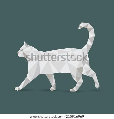 White origami cat - vector illustration - stock vector