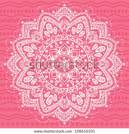 White Ornament on the pink ethnic background - stock vector